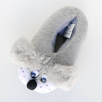 Girls Pussy Cat Silver Grey Fur Slippers Fabric Ears Nose Metro Size 9-9.5 Kids