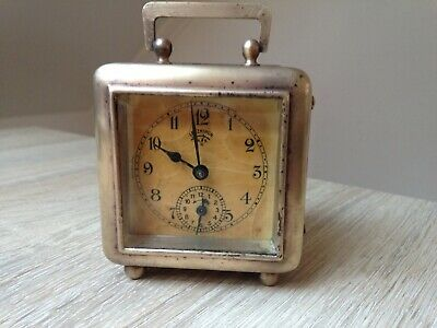 Antique Lenzkirch travel alarm clock fully working Germany brass 1917 year