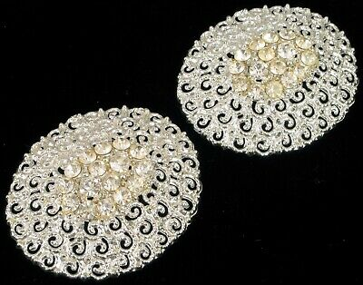 Antique Flashy Rhinestone Shoe Clips Round Swirl Pattern Chrome Plated Silver