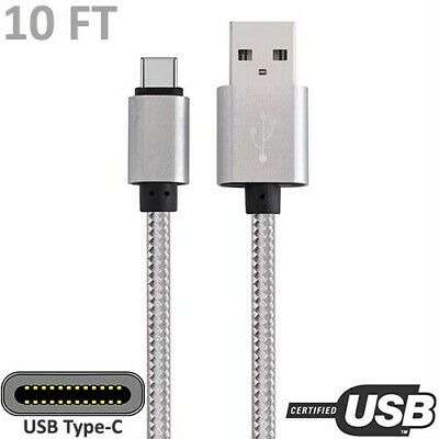 3x 10ft USB-C to USB-A Cable Cord Charge Sync Data PC Laptop Smartphone Black