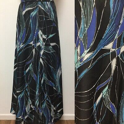Vintage Maxi Skirt Size 12 Black With Blue Psych Pattern