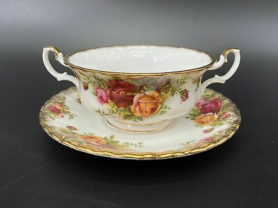 Royal Albert Old Country Rose Creamer Soup With Saucer Bone China England