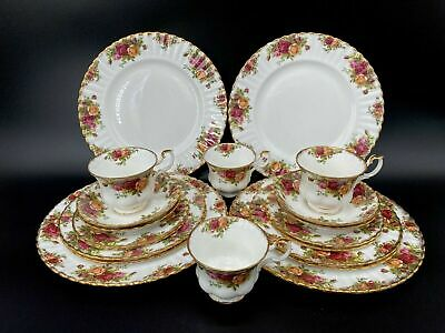 Royal Albert Old Country Rose 5 Piece Plate Setting x 4 England 20 Pieces