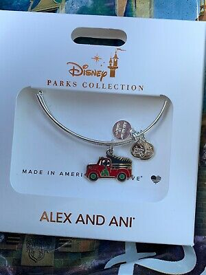 Disney Parks Alex And Ani Mickey's Tree Farm Red Truck 2019 Christmas Bracelet