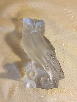 "Vintage 7"" Viking Hand Made Frosted Saltin Blown Glass Owl On Perch Figure"