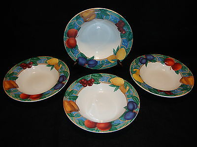 Victoria & Beale Casual FORBIDDEN FRUIT 9024 RIMMED CEREAL / SOUP BOWLS Lot x 4
