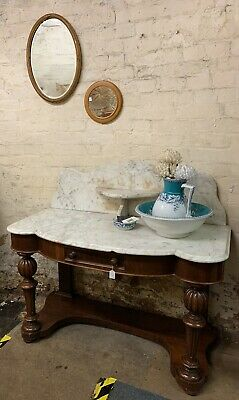 Victorian Marble Top Washstand With Mahogany Base