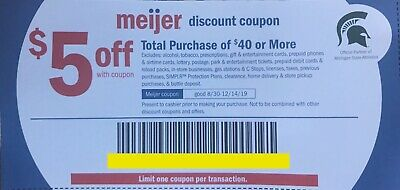 Meijer $5 off $40 Coupon, Set of 10, $50 total savings