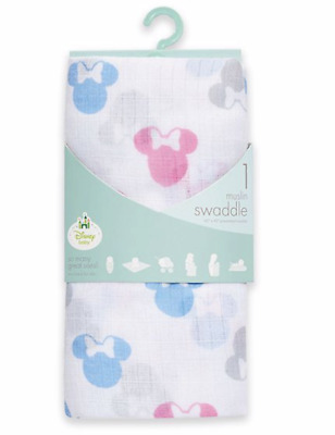 Minnie Mouse Muslin Swaddle Blanket NWT Motif Baby Girl Aden & Anais Disney