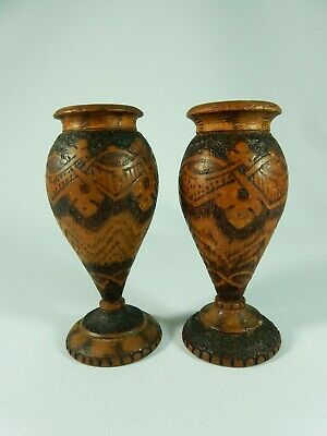 Antique Pair of Small Pokerwork Poker Work Timber Vases Urns Carved Wood