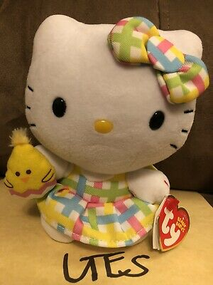 Hello Kitty Spring Easter Ty Beanie Babies Chick Pastel Plaid Skirt Bow NWT