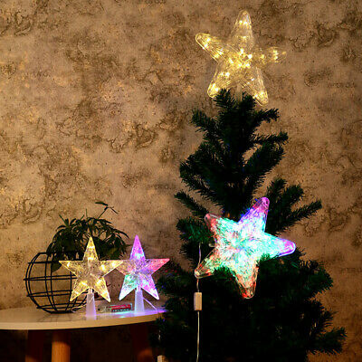 Christmas Tree Top Topper LED Light Up Star Xmas Home Party Decor Ornament US
