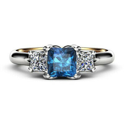 HOT Elegant Rings for Blue Sapphire 925 Silver Jewelry Wedding Ring Size 6-10