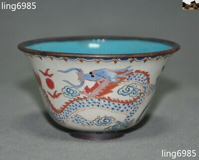 """4""""Old Chinese Bronze Cloisonne Animal Dragon Phoenix Dynasty palace Tea cup Bowl"""