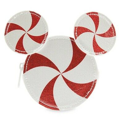 Disney Parks Mickey Mouse Peppermint Candy Pouch 2019 Christmas Nwt
