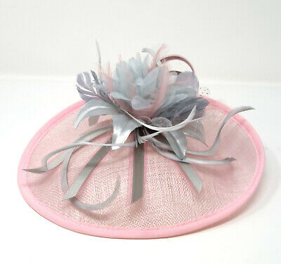 Pink and grey hatinator style fascinator with comb, clip, alice band.