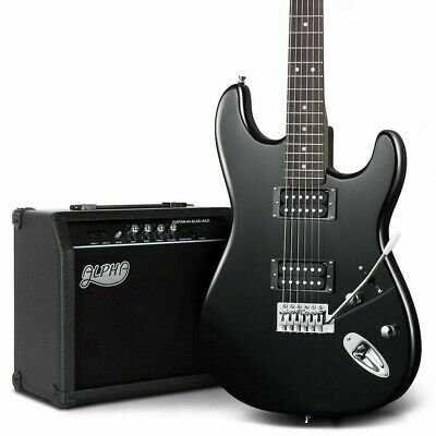 ALPHA Electric Guitar Black and Amplifier Combo Set with Carry Bag NEW