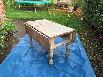 Antique Vintage Rustic Victorian Pine Top Wooden Dining Kitchen Table