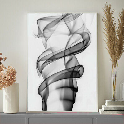 Black White Grey Photo COCO CHANEL Abstract Smoke Bedroom Wall Art Print Poster