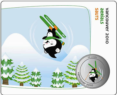 50 Cent Canada Vancouver 2010 Olympic Mascot Miga Coin Aerials Freestyle Skiing