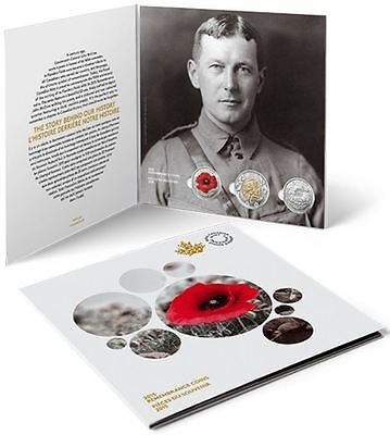 In Flanders Fields Canada 2015 Remembrance Coin Card Poppy Quarters and Toonies