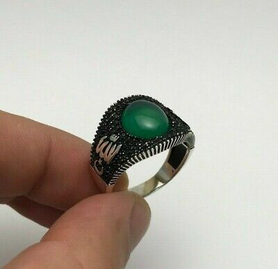Turkish Jewelry Green Agate Allah C.C. 925K Sterling Silver Men's Ring