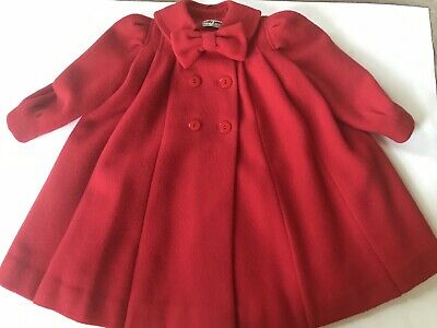 Vintage Red Dress Coat Emily Jane Made In England Pure Wool Age 5 Bow