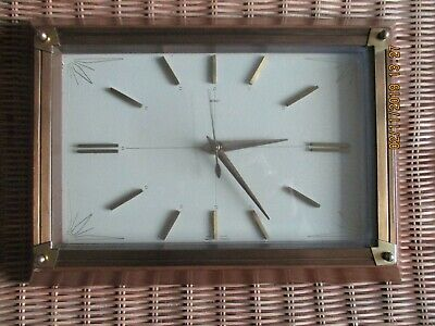 VINTAGE METAMEC  WALL CLOCK TEAK / WOOD and BRASS (working)