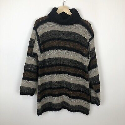 Lord & Taylor vintage Striped turtleneck chunky knit 80/90s sweater M mohair