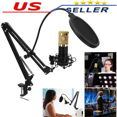 PROFESSIONAL Audio Condenser Microphone Kit Vocal Studio Recording Set Game Chat