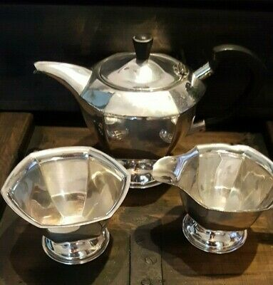 Vintage 1950's Silver plated Teapot, cream and sugar bowl set, Sheffield,England