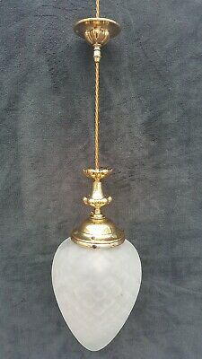 Art Nouveau Ceiling Lamp with Brass Gallery and Frosted Glass Shade