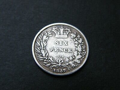 1837 William IV 4th Silver Sixpence Coin
