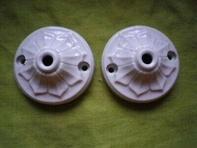 TWO Vintage French Ceiling Rose Porcelain, Flower pattern China, Lighting.E
