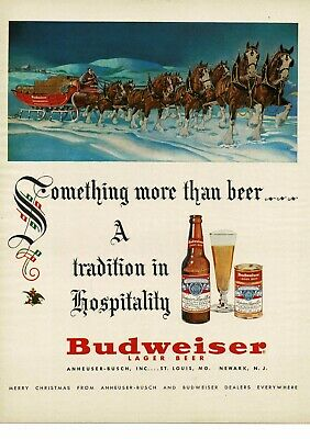 1952 BUDWEISER beer Christmas Santa Claus Clydesdale Horses Team Vintage Ad