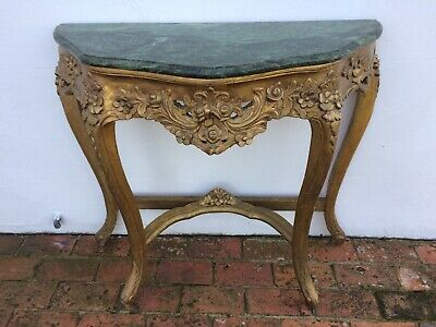 Console Table Half Moon Demi Lune Marble Top Gilt Legs French Louis XV Style