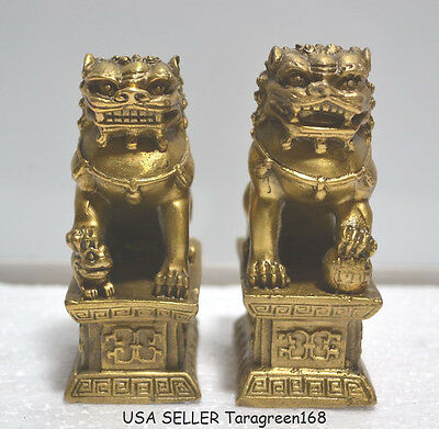 Feng Shui Brass A Pairs Foo Fu Dogs Of Chinese Guardian Lion Dog Protection Home