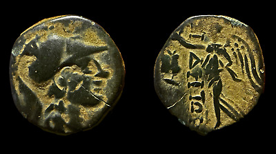 Side, Pamphylia - Ancient Greek Coin, Athena and Nike, Owl Countermark