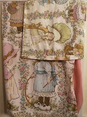 Vintage Holly Hobbie Single Duvet Cover Pillow Case Set 70s 80s Fabric Sarah Kay
