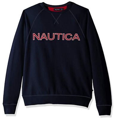 Nautica Long Sleeve Solid French Rib Crew Neck Sweatshirt