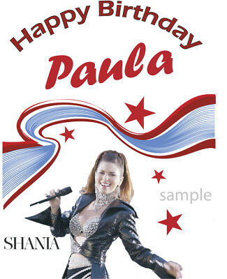 Personalised Birthday card Shania Twain Design, any name relation age printed
