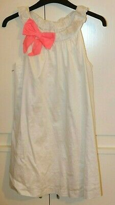 Vertbaudet cotton cream white with pink bow lovely girls dress size 10 years