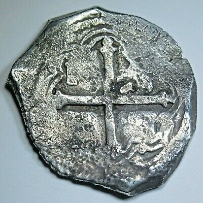 1600's Shipwreck Spanish Mexico Silver 4 Reales Piece of 8 Real Pirate Cob Coin