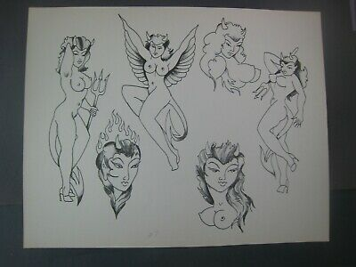 LOT OF 2 Vintage Pin-up girls,Doc Price Tattoo Flash ....  11'' x 14''
