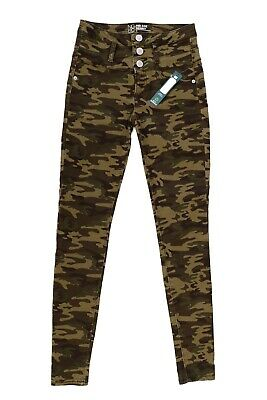 New No Boundaries Camouflage Leggings Girls Size 3 Mid Rise Skinny Green Cotton