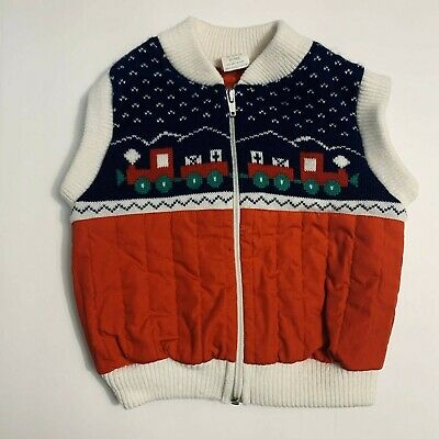 Vintage Sweater Quilted Vest Toddler Boys Children's Train Zippered Knit 24 mths