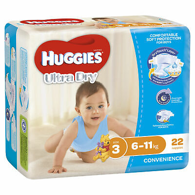 Huggies Ultra Dry Nappies - Size 3 Crawler Boy - Buy More and Save!