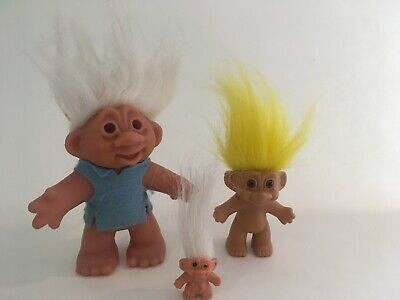 3 x Vintage Collectable TROLL DOLLS 1986 DAM Russ Dam Things