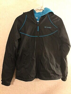 Columbia Youth Girls Reversible Rain Jacket & Fleece Size 18/20 Black & Blue