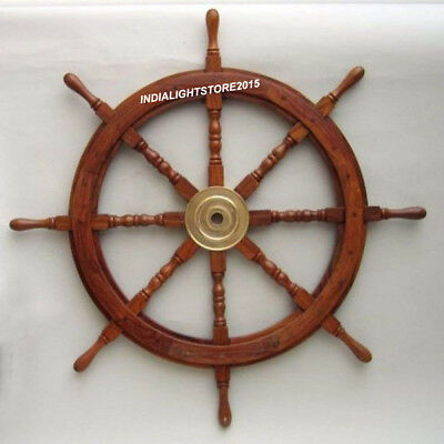 "Nautical 36"" Boat Ship Wooden Steering Brass Large Wheel Christmas gift"